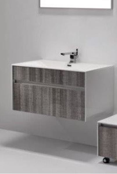 Picture of Beautiful vanity  800 mm  L, ASH with White sides, 1 drw,ref KGS800A.
