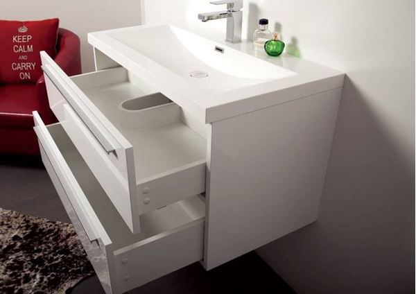Picture of Modern WHITE or Grey-Brown bathroom cabinet / vanity 900 mm length, 2 soft closing drawers