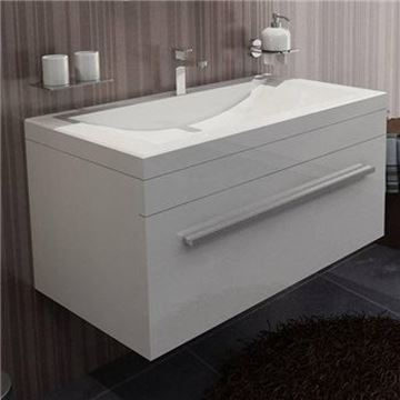 Picture of Modern bathroom cabinet 900 mm L with 1 drawer in White or Grey- Brown, ref KG900W/1