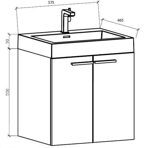 Bathroom Vanity Za export - bathroom vanity with 575 mm length, 2 doors, ref kca575d