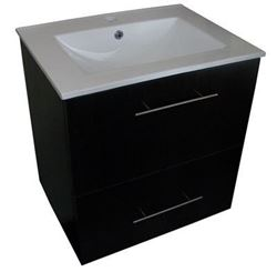 Picture of Export - Cabinet 600mm L + CERAMIC basin, 1 door + 1 drw,CWSC600. Mahogany gooden grain finish