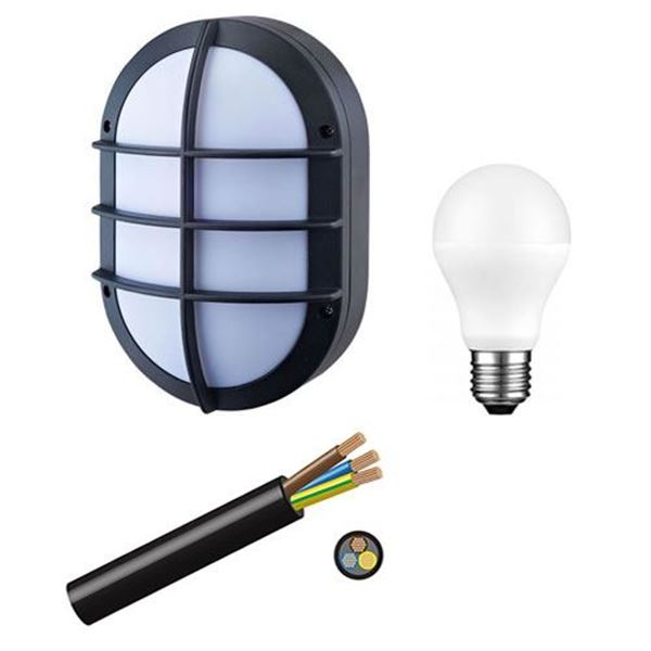 Picture of 220V Outdoor Lighting kit 10 units bulkhead led bulbs and cable.