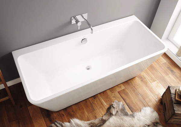 Picture of CUBA Freestanding BACK TO WALL Seamless Acrylic bath, 1700 x 750 X 580 mm H, 5 years warranty