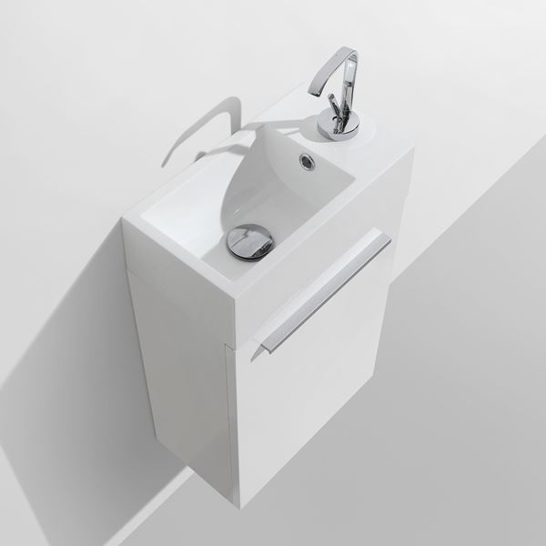 Picture of Compact WHITE OR GREY-BROWN bathroom cabinet / vanity 460 mm length, 1 door, ref KG460
