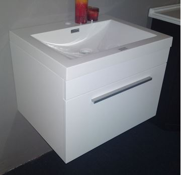 Picture of Modern bathroom cabinet, 600 mm length, 1 drawer, WHITE or GREY-BROWN gloss paint