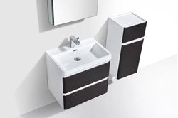 Picture of Milan Black & White Contemporary Bathroom cabinet with rounded corners 600 mm L 2 drawers