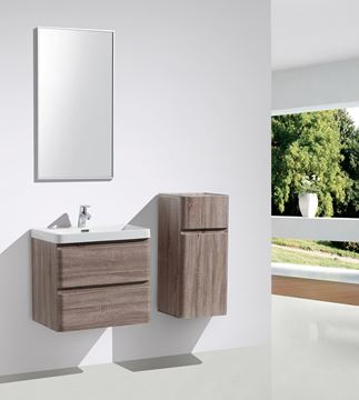 Picture of Milan SILVER OAK Contemporary Bathroom cabinet SET with rounded corners, 600 mm L, 2 drawers
