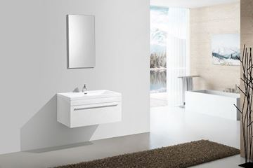 Picture of WHITE Aquila Elegant Bathroom Cabinet 900 mm L, 1 soft closing drawer with BLUM rails