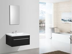 Picture of BLACK Aquilla Elegant Bathroom Cabinet 900 mm L, 1 soft closing drawer with BLUM rails, ref KC900DRB