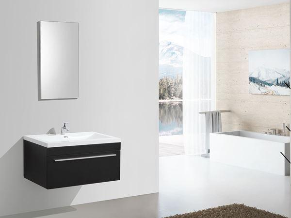 Picture of BLACK Aquilla Elegant Bathroom Cabinet 900 mm L, 1 soft closing drawer with BLUM rails, ref KC900DRB