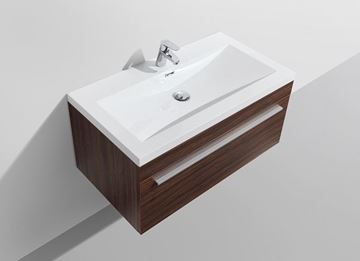 Picture of SALE WALNUT Aquila Elegant Bathroom Cabinet 900 mm L, 1 soft closing drawer with BLUM rails