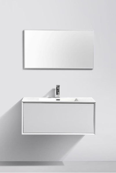 Picture of Modena Bathroom cabinet with Stone / Quartz Basin, 900 mm L, 1 drawer, WHITE matt