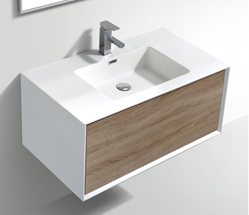 Picture of Modena Bathroom cabinet with Stone / Quartz Basin, 900 mm L, 1 drawer, WHITE & WHITE OAK