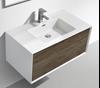 Picture of Modena Bathroom cabinet with Stone / Quartz Basin, 900 mm L, 1 drawer, WHITE & WHITE OAK
