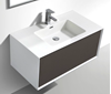 Picture of Modena Bathroom cabinet with Stone / Quartz Basin, 900 mm L, 1 drawer, WHITE & ASH Matte