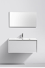 Picture of  Modena Bathroom cabinet with Stone / Quartz Basin, 900 mm L, 1 drawer, WHITE & CART OAK
