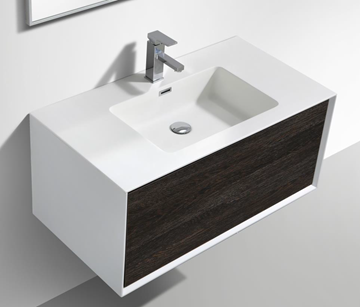 Picture of Modena Bathroom cabinet with Stone / Quartz Basin, 900 mm L, 1 drawer, WHITE & DARK OAK