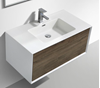 Picture of Modena Bathroom cabinet with Stone / Quartz Basin, 900 mm L, 1 drawer, WHITE & MAPLE GREY Matte