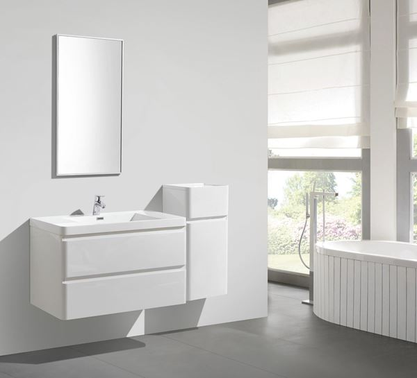 Picture of Milan WHITE Contemporary 900 mm L Bathroom cabinet SET, 2 drawers with BLUM rails