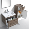 Picture of Milan SILVER OAK Contemporary Bathroom cabinet SET with rounded corners, 600 mm L, 1 drawer