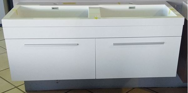 Picture of Modern DOUBLE bathroom cabinet with 2 soft closing drawers Glossy White, KG1200W