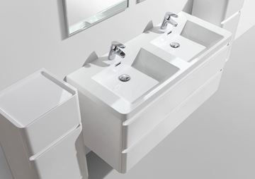 Picture of Milan WHITE Contemporary double bathroom cabinet SET 1200 mm L with 2 drawers