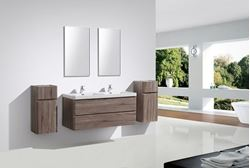 Picture of Milan Contemporary double bathroom cabinet SET 1200 mm L with 2 drawers, SILVER OAK