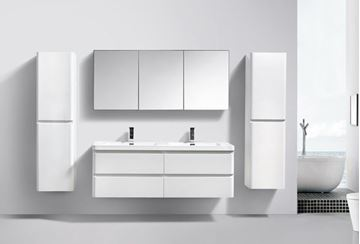 Picture of Milan WHITE Contemporary double bathroom cabinet SET 1500 mm L with 4 drawers