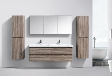 Picture of Milan Contemporary double bathroom cabinet  SET 1500 mm L, 4 drawers, SILVER OAK