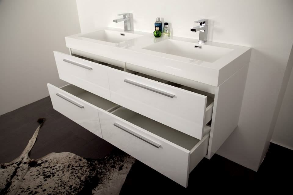 Picture Of Stylish Double Bathroom Cabinet Vanity With 4 Drawers White