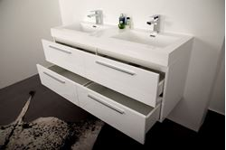 Picture of Stylish Double Bathroom Cabinet / Vanity with 4 drawers, WHITE, Ref KG138W