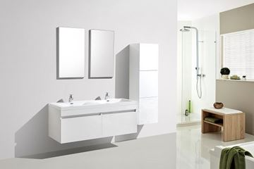 Picture of Vetto WHITE Bathroom Cabinet with Wavy Double Basins 1440 mm L, 2 drawers
