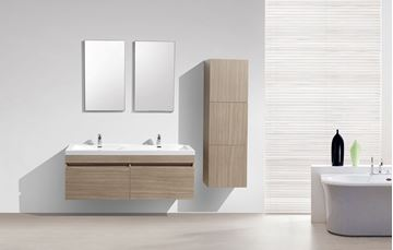 Picture of SALE Vetto OAK Bathroom Cabinet  with Wavy Double Basins 1440 mm L and 2 drawers