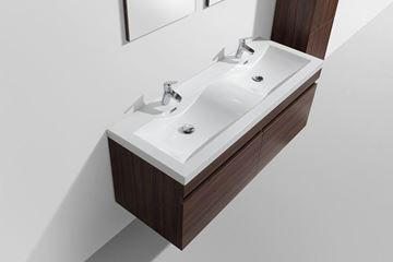 Picture of SALE Vetto WALNUT Bathroom Cabinet with Wavy Double Basins 1440 mm L, 2 drawers