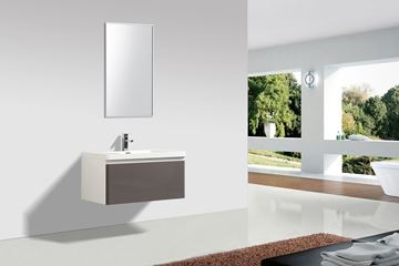 Picture of Milan GREY and WHITE Contemporary Bathroom cabinet SET 900 mm L with 1 drawer and BLUM rails
