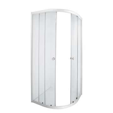 Picture of AQUILA corner SHOWER ENCLOSURE 900 x 900 x 1850 mm, 5 mm tempered glass, white rails