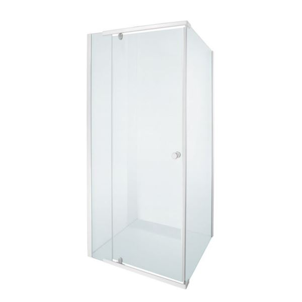 Picture of ALPINE Square Semi Frameless  shower with PIVOT Door 5 mm tempered glass white rails