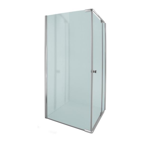 Picture of ALPINE Square Semi Frameless  shower with PIVOT Door, 5 mm tempered glass, chrome plated rails