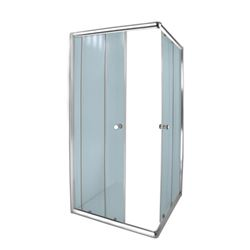 Picture of AQUA LUX square shower enclosure, corner entry, 5 mm tempered glass, Bright Chrome rails