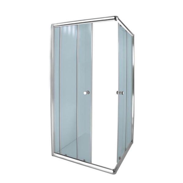 Picture of AQUA LUX square shower enclosure, corner entry, 5 mm tempered glass, Bright Chrome rails