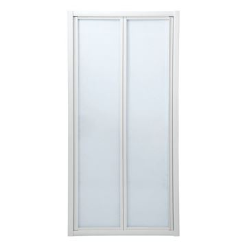 Picture of Bi-Folder Shower Door, 900 x 1850 mm H, 5 mm tempered glass, white frame