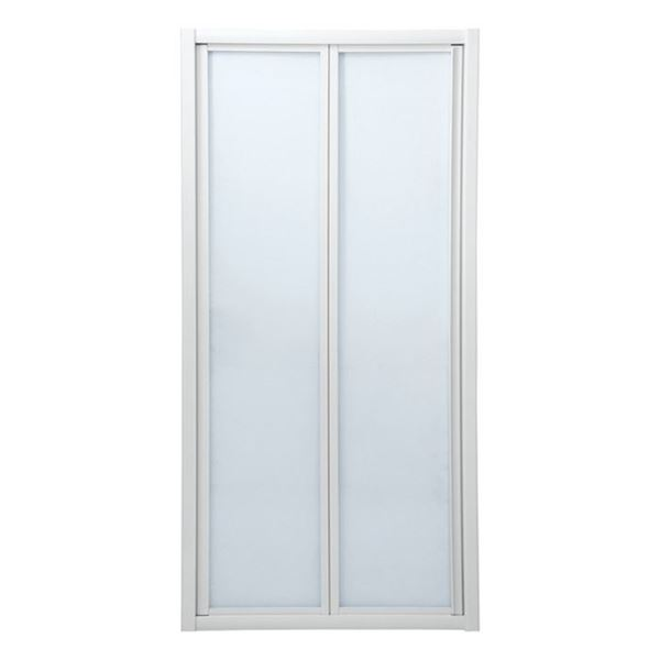 Picture of Bi-Folder Shower Door, 900 x 1850 mm H, 5 mm tempered glass, white frame