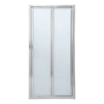 Picture of Bi-Folder Shower Door, 900 x 1850 mm H, 5 mm tempered glass, Bright Chrome  frame
