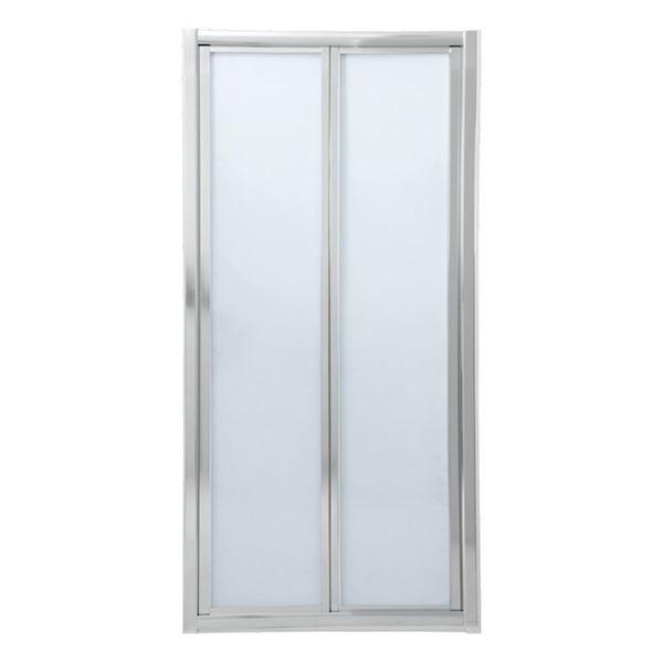 Picture of Bi-Folder Shower Door, 900 x 1850 mm H, 5 mm tempered glass, Bright Chrome  frame