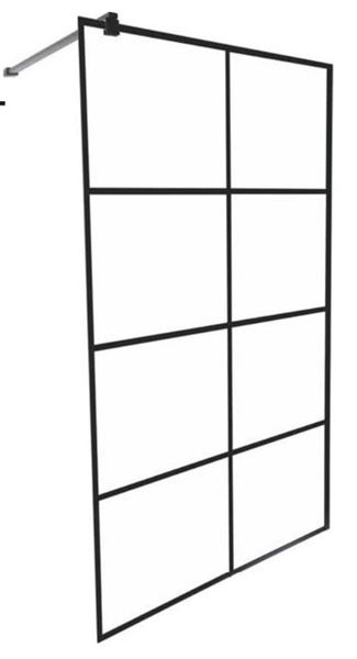 Picture of EVEREST French style BLACK Walk In shower screen 1200 x 2000 mm H, complete with shower arm and U Channel