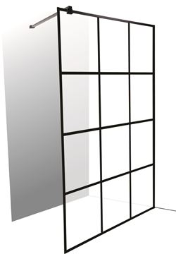 Picture of  Mont Blanc French style BLACK Walk In shower screen 1200 x 2000 mm H, complete with 1 shower arm and 1 U Channel