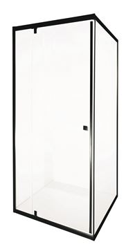Picture of Modern BLACK square semi frameless shower 880 x 880 x 1850 mm H with PIVOT door