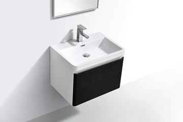 Picture of Milan Contemporary Bathroom cabinet with rounded corners, 600 mm L, 1 drawer, WHITE & BLACK