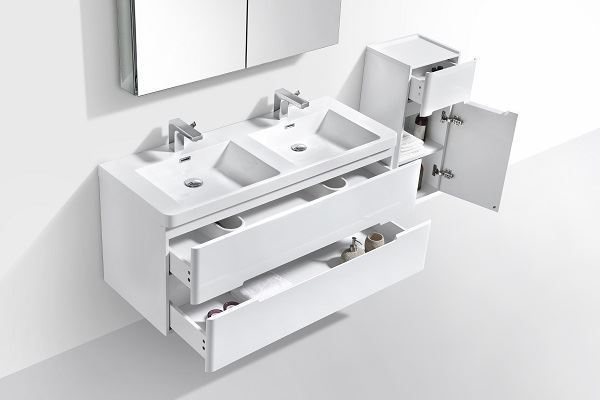 Picture of  Venice Trendy double bathroom cabinet 1200 mm L, rounded corners, 2 drawers, WHITE