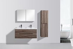 Picture of Venice Trendy double bathroom cabinet 1200 mm L, rounded corners, 2 drawers, Silver Oak
